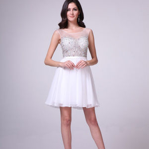 Illusion Jeweled Short Prom Dress CDCJ90S